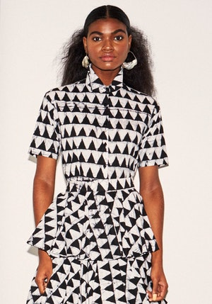 Black And White Crossroads Cotton Button Down Shirt by Studio 189 - 1