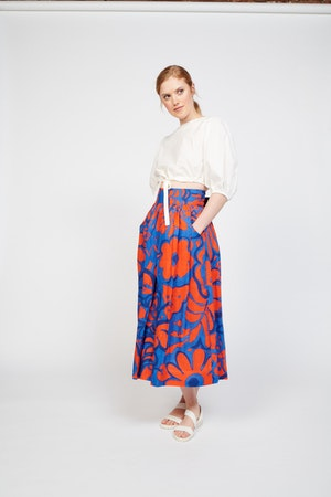 Kimani Skirt in Ashbury Floral Red/Blue by Whit - 2