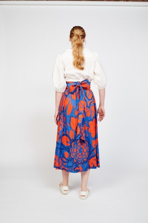 Kimani Skirt in Ashbury Floral Red/Blue by Whit - 4