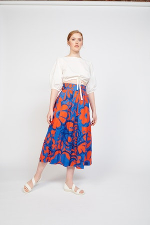 Kimani Skirt in Ashbury Floral Red/Blue by Whit - 3
