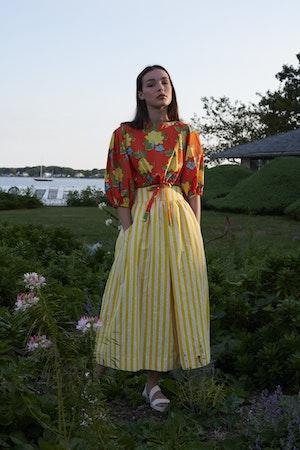 Kimani Skirt in Yellow Otto Stripe by Whit - 5