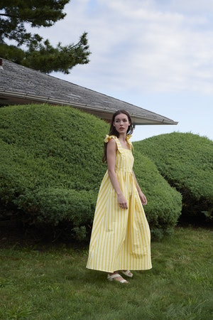 Ribbon Dress in Otto Stripe Yellow by Whit - 2