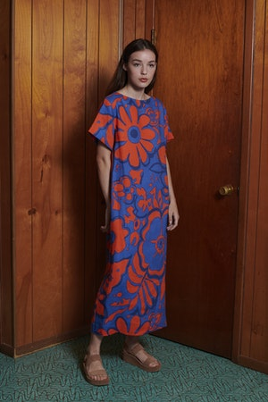 Sonora Dress in Ashbury Floral Red Blue by Whit - 2