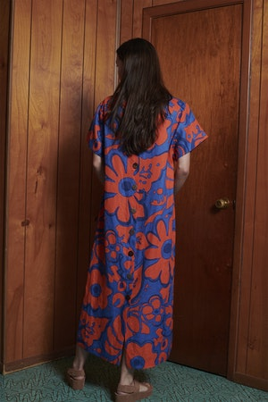 Sonora Dress in Ashbury Floral Red Blue by Whit - 4