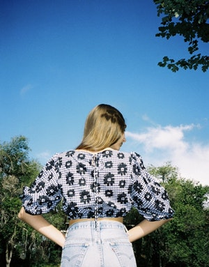 Tilden Top in Navy Flowers on Gingham by Whit - 3