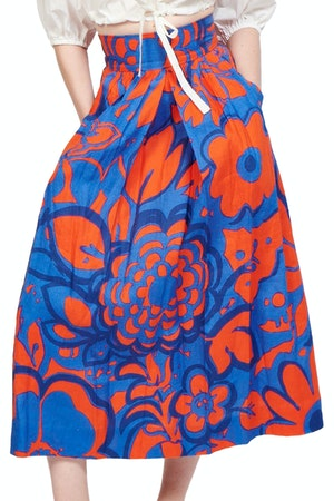 Kimani Skirt in Ashbury Floral Red/Blue by Whit - 1