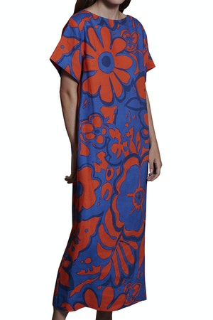 Sonora Dress in Ashbury Floral Red Blue by Whit - 1