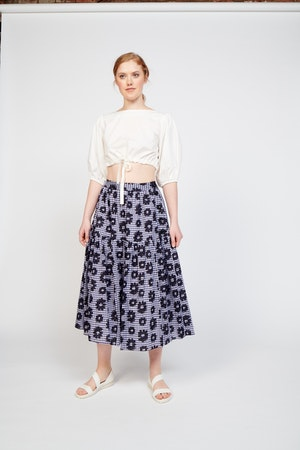 Roni Skirt in Flowers on Gingham by Whit - 1