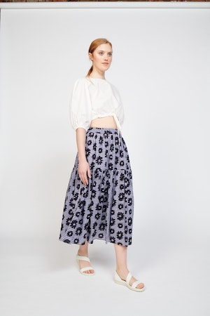 Roni Skirt in Flowers on Gingham by Whit - 3