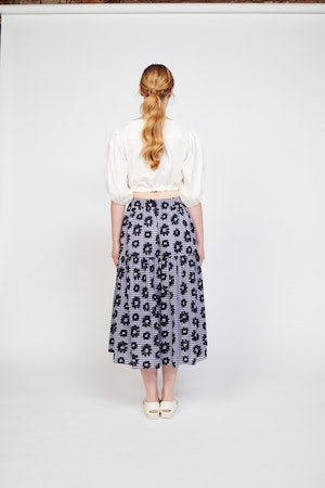 Roni Skirt in Flowers on Gingham by Whit - 2