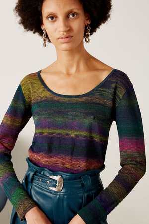 Amo Scoop Neck Sweater in Sawada Powder-Teal by Simon Miller - 2