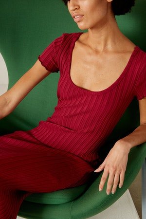 RIB Andros Dress in Rumba Red by Simon Miller - 2