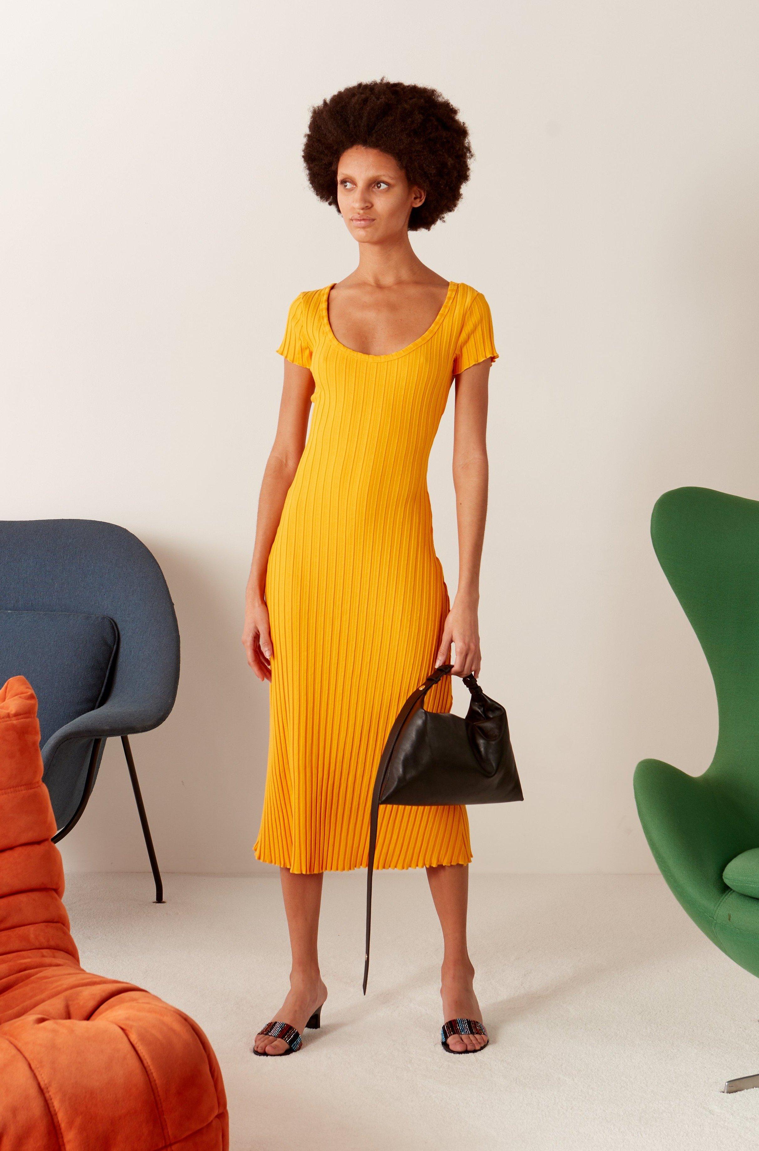 RIB Andros Dress in Sunset Orange by Simon Miller - 2