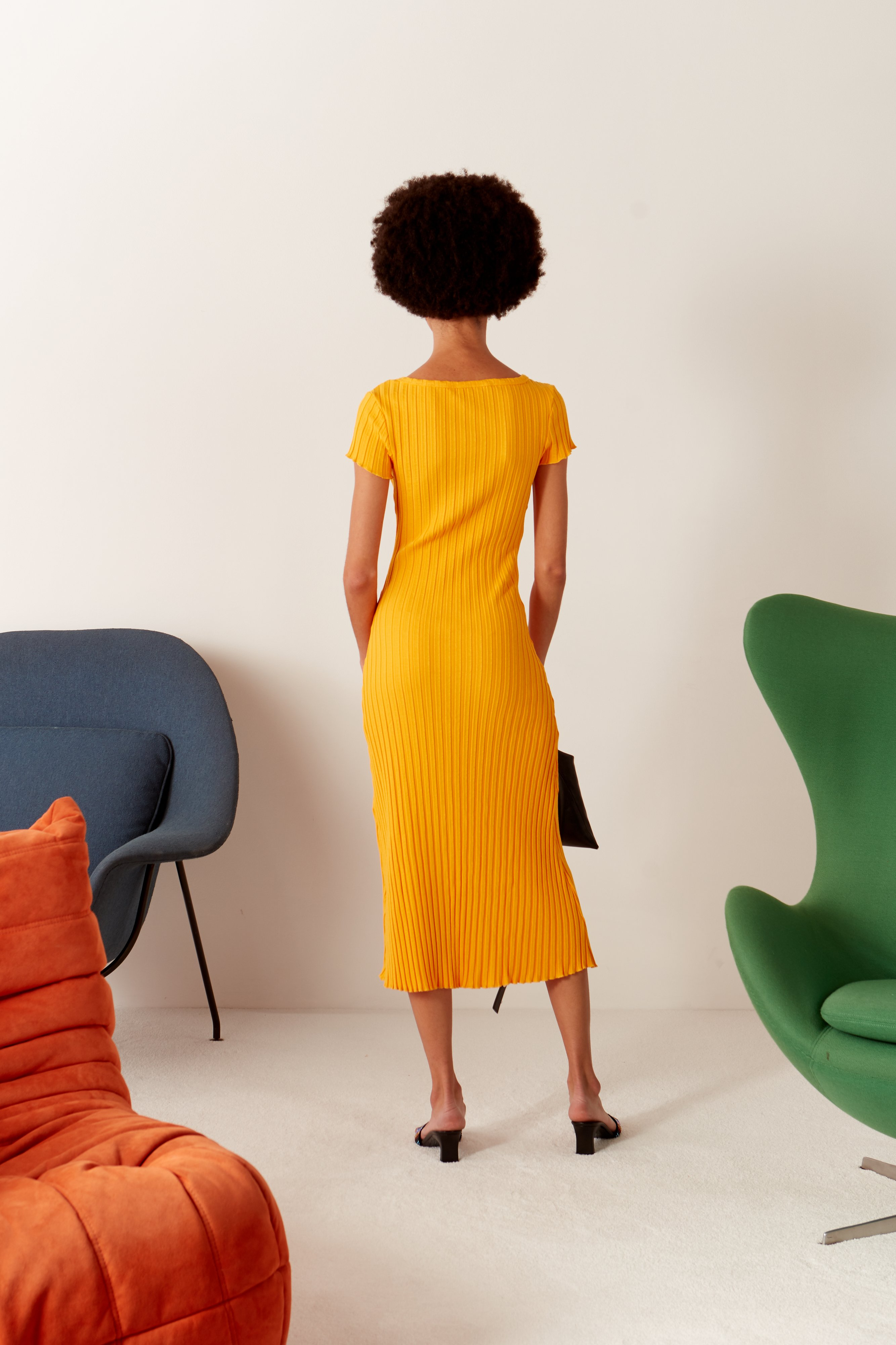 RIB Andros Dress in Sunset Orange by Simon Miller - 5