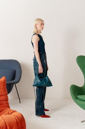 VEGAN Barr Sack Waist Trouser in Octane Teal by Simon Miller - 5