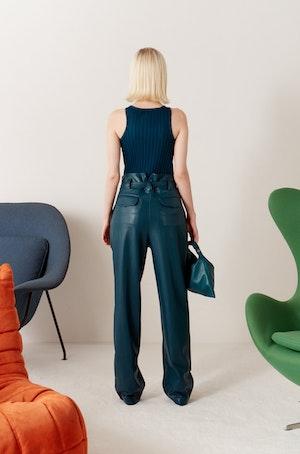 VEGAN Barr Sack Waist Trouser in Octane Teal by Simon Miller - 6