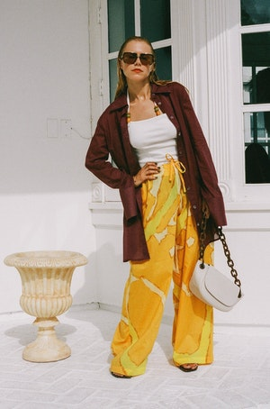 Brickell Drawstring Pant in Yellow Abstract Print by Simon Miller - 4