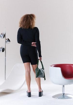 RIB Burr Shorts in Black by Simon Miller - 3