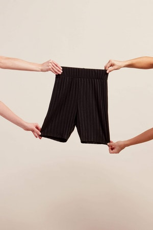 RIB Burr Shorts in Black by Simon Miller - 2
