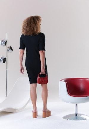 RIB Capo Dress in Black by Simon Miller - 4