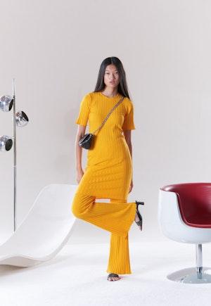RIB Capo Short Dress in Sunset Orange by Simon Miller - 2