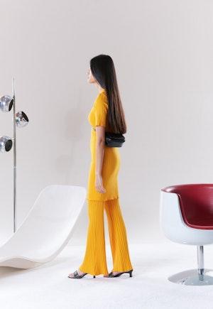 RIB Capo Short Dress in Sunset Orange by Simon Miller - 3