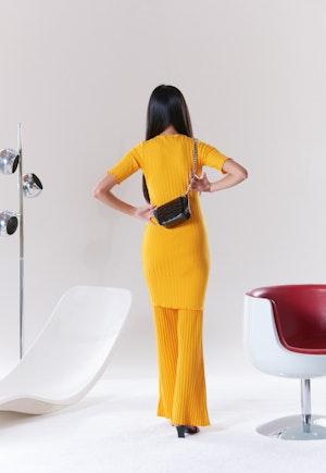 RIB Capo Short Dress in Sunset Orange by Simon Miller - 4