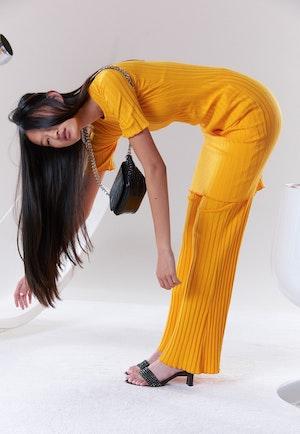 RIB Capo Short Dress in Sunset Orange by Simon Miller - 5