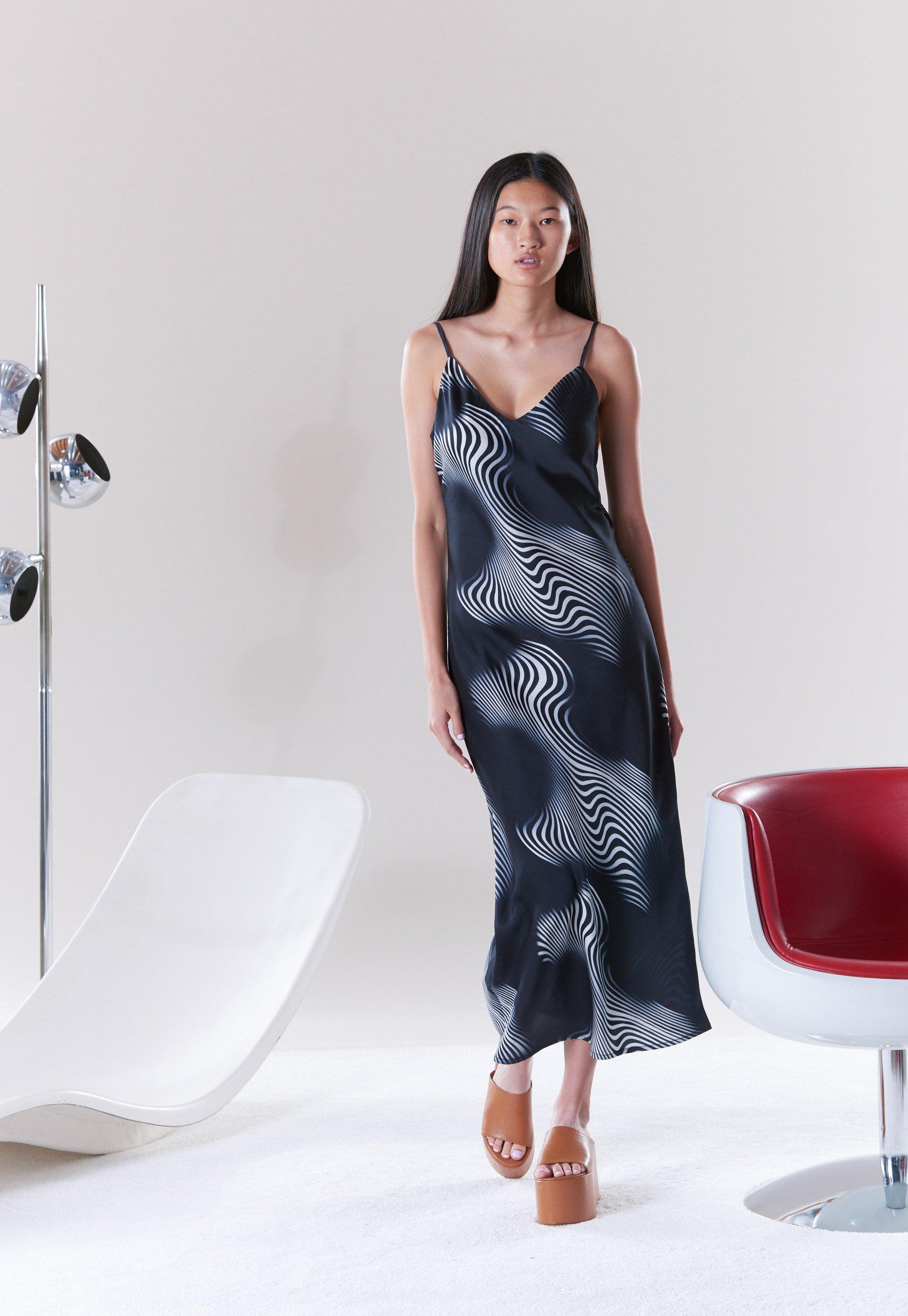 Esmond Slip Dress in Black Trippy Print by Simon Miller - 2
