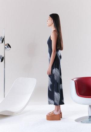 Esmond Slip Dress in Black Trippy Print by Simon Miller - 3