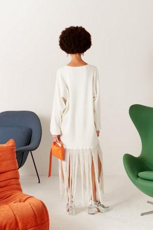Evita Fringe Sweater Dress in White by Simon Miller - 3