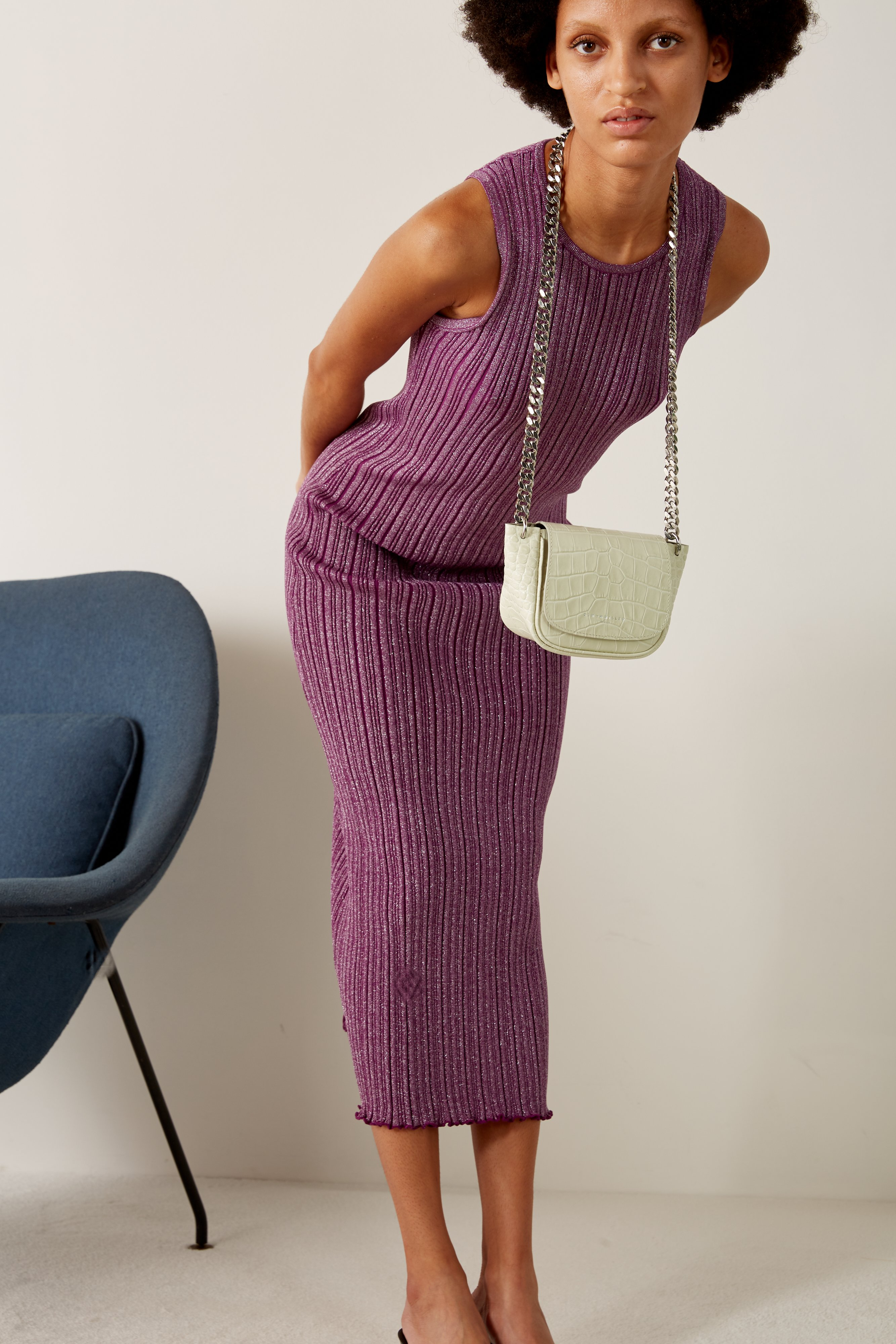 Mini Bend Bag in White Croc by Simon Miller - 2