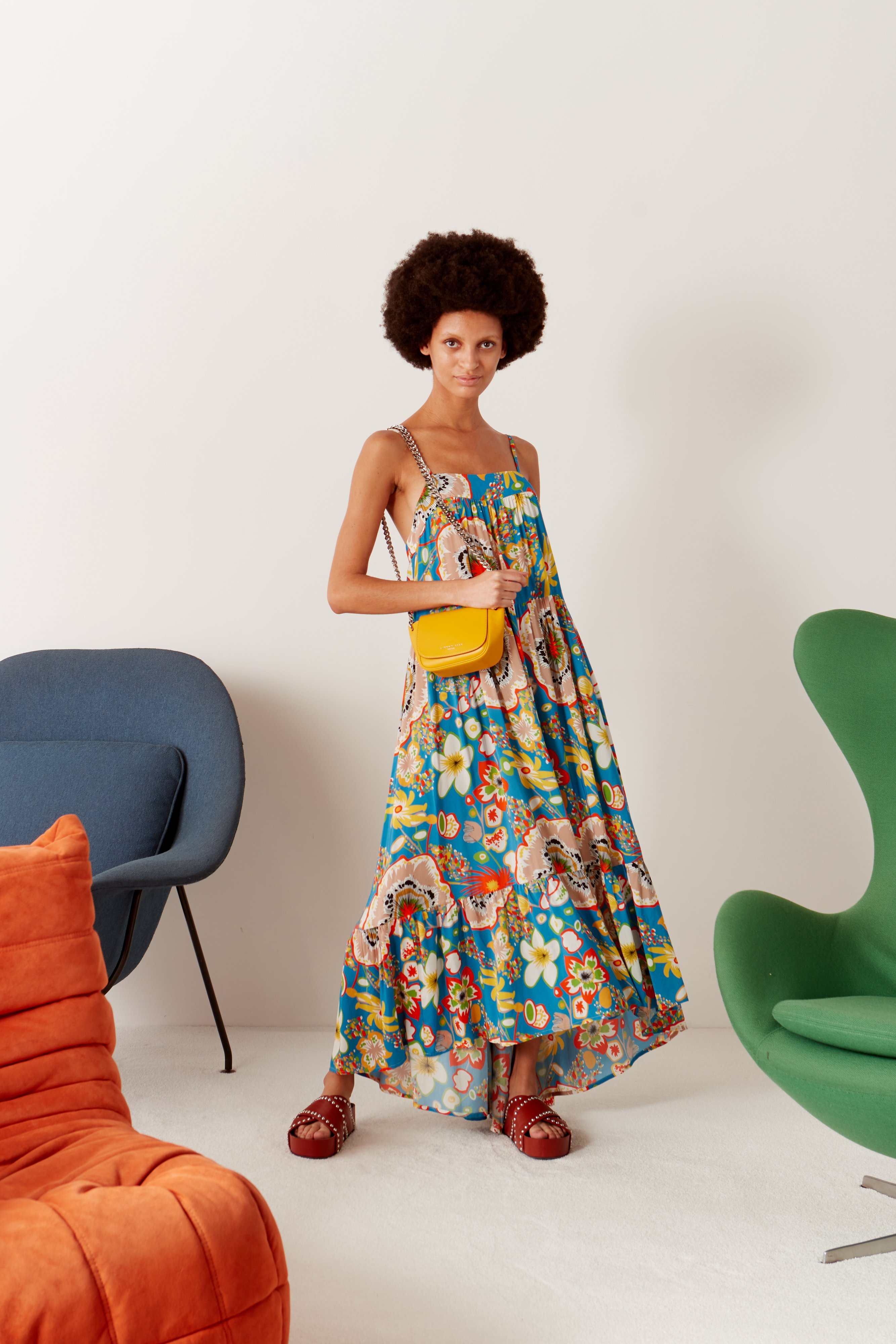 Pumpa Layered Tank Dress in Blue Floral Print by Simon Miller - 2