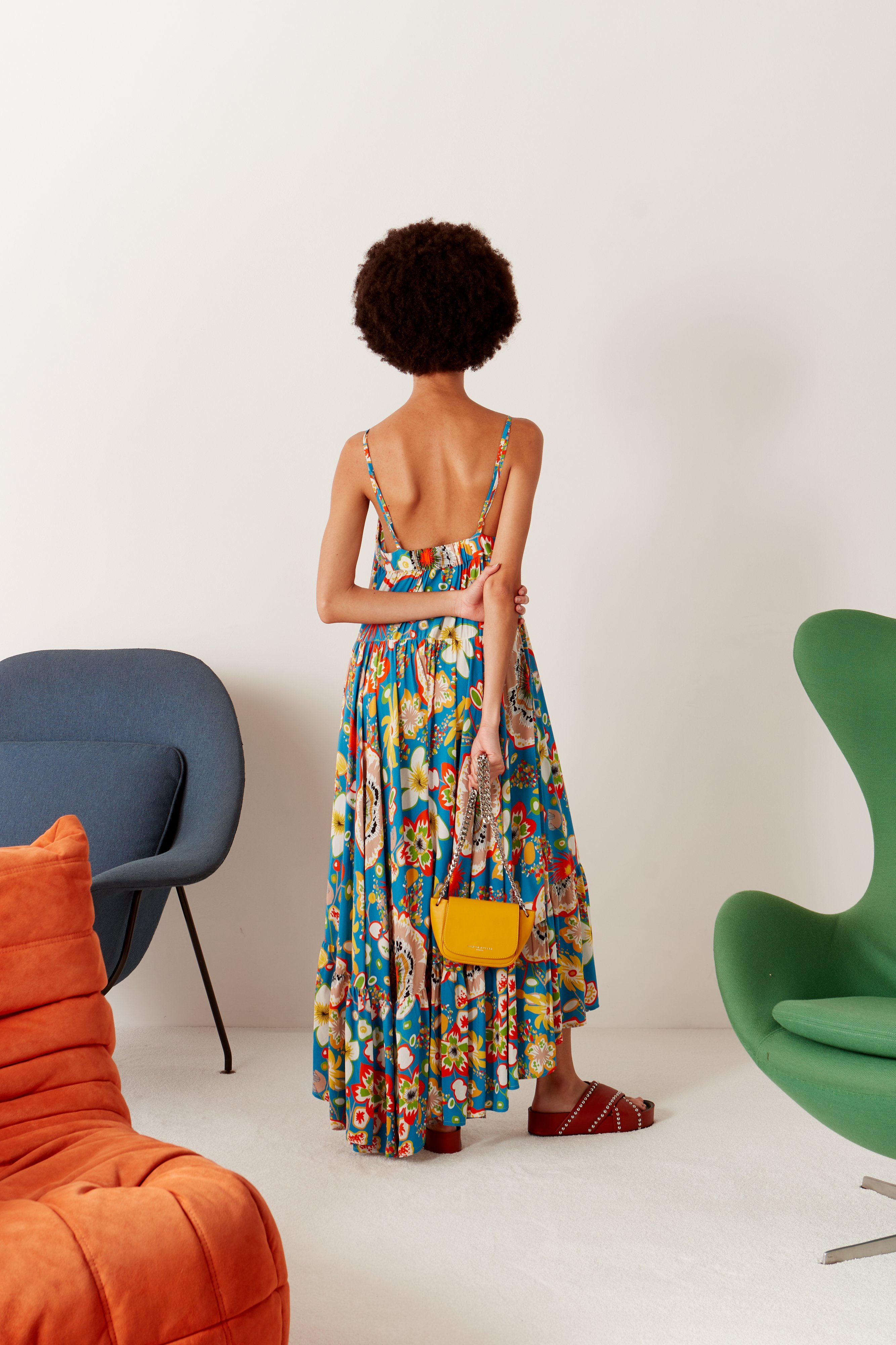 Pumpa Layered Tank Dress in Blue Floral Print by Simon Miller - 3