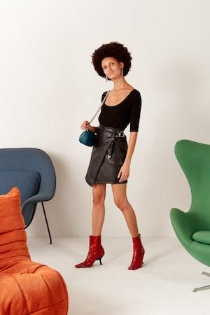 VEGAN Zamora Wrap Skirt in Black by Simon Miller - 4