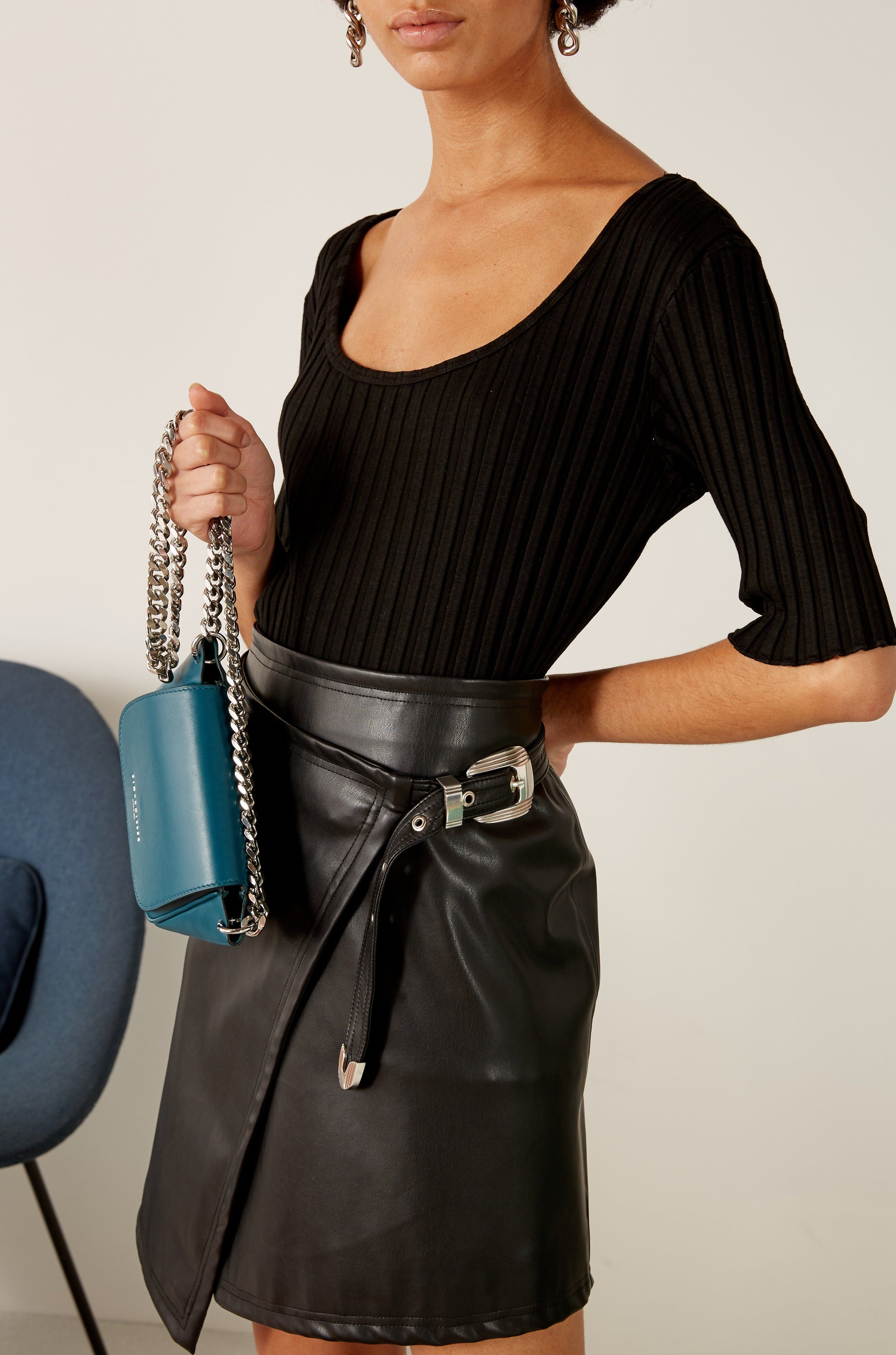 VEGAN Zamora Wrap Skirt in Black by Simon Miller - 2