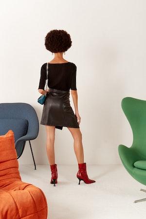 VEGAN Zamora Wrap Skirt in Black by Simon Miller - 3
