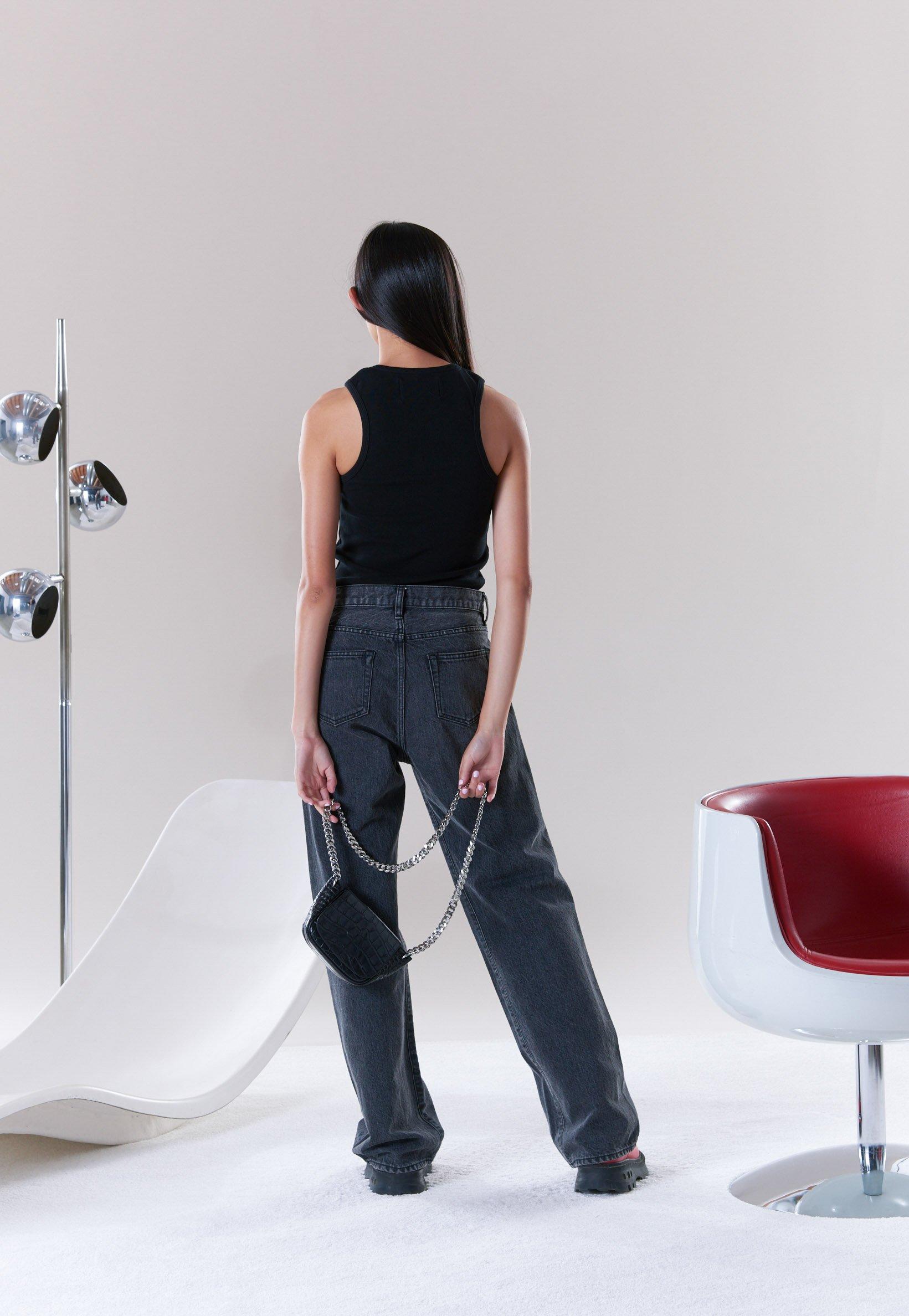 W025 Wide Leg in Vintage Wash Black Wash by Simon Miller - 4