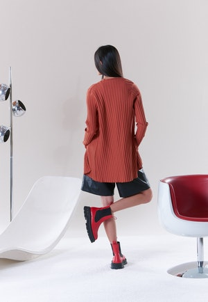 RIB Eames Cardigan in Sepia Brown by Simon Miller - 4