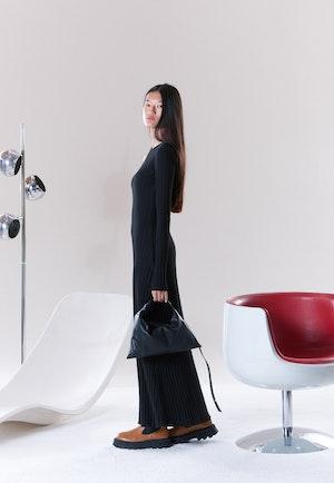 RIB Knoll Dress in Black by Simon Miller - 4
