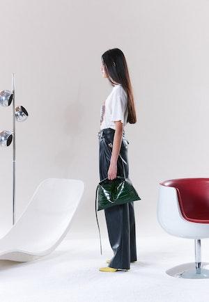 VEGAN Barr Sack Waist Trouser in Black by Simon Miller - 3