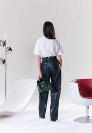 VEGAN Barr Sack Waist Trouser in Black by Simon Miller - 4