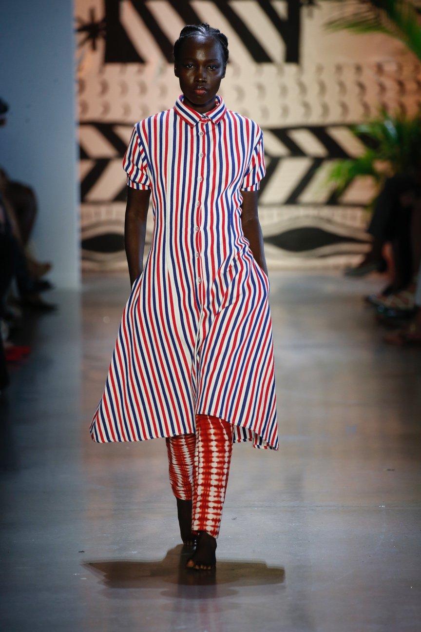 Red, White and Blue Stripe Organic Cotton Midi Shirt Dress by Studio 189 - 3