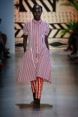 Red, White and Blue Stripe Cotton Woven Midi Shirt Dress by Studio 189 - 3