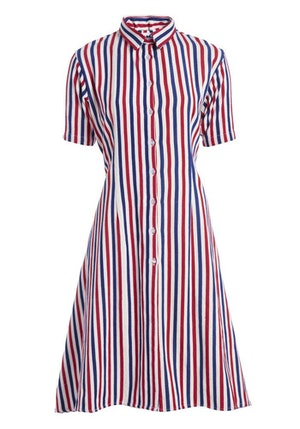 Red, White and Blue Stripe Cotton Woven Midi Shirt Dress by Studio 189 - 1