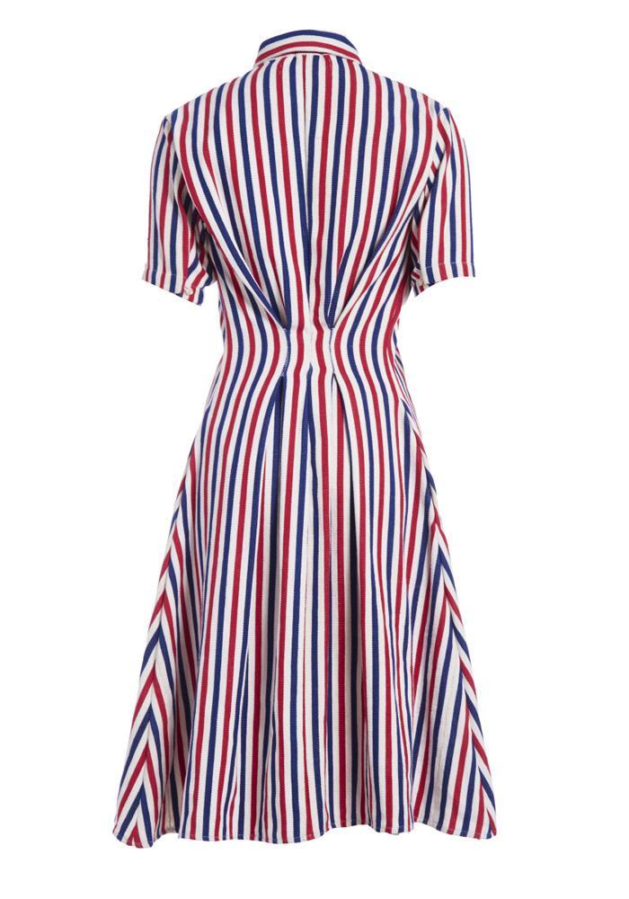 Red, White and Blue Stripe Organic Cotton Midi Shirt Dress by Studio 189 - 2