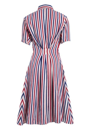 Red, White and Blue Stripe Cotton Woven Midi Shirt Dress by Studio 189 - 2