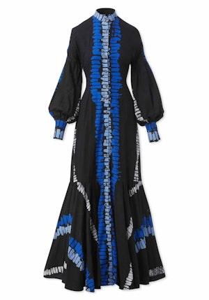 Black, Blue and Light Blue Ladder Cotton Blouson Sleeve Maxi Dress by Studio 189 - 1