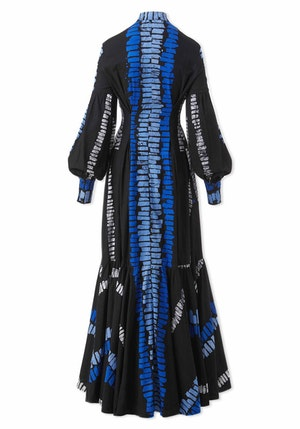 Black, Blue and Light Blue Ladder Cotton Blouson Sleeve Maxi Dress by Studio 189 - 2