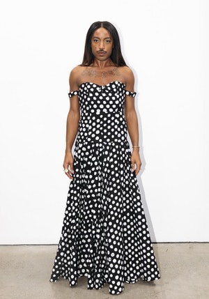 Black and White Polka Dots Cotton Hand-Batik Evening Gown by Studio 189 - 1